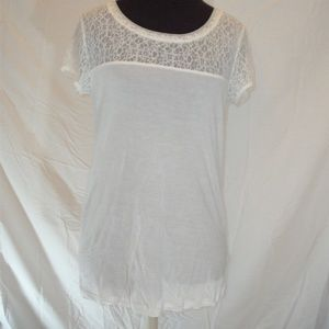 bcd2b996d99b70 Simply Vera Wang White Blouse with Lace on Top